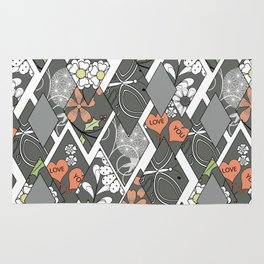 Patchwork,abstract floral,pattern. Rug