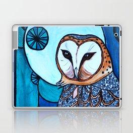 Barn Owl Art Nouveau Panel in blue Laptop & iPad Skin