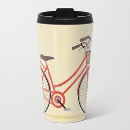 Flower Basket Bicycle Illustration Travel Mug