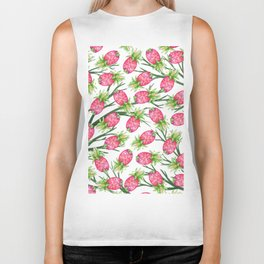 Summer tropical pink green watercolor pineapple floral Biker Tank