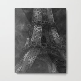Eiffle Tower by Lu, Black and White Metal Print
