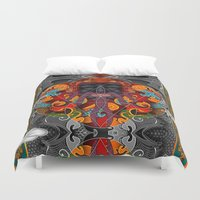 sacred geometry Duvet Covers featuring Sacred Geometry by Robin Curtiss