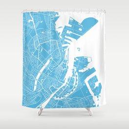 Copenhagen map blue Shower Curtain
