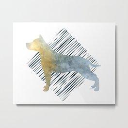 Modern American Staffordshire Terrier Dog Watercolor Stripes Metal Print