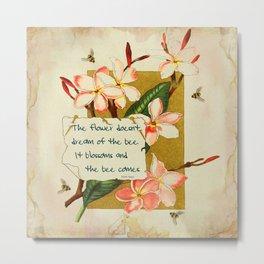 Flowers & Bees I Metal Print