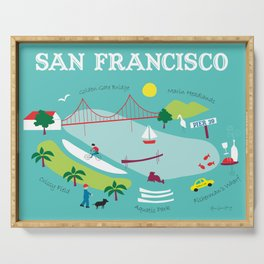 San Francisco, California - Collage Illustration by Loose Petals Serving Tray