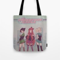 powerpuff girls Tote Bags featuring PowerPuff! by Mioree