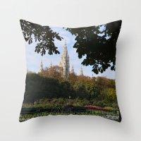 vienna Throw Pillows featuring vienna volksgarten by Lisa Carpenter