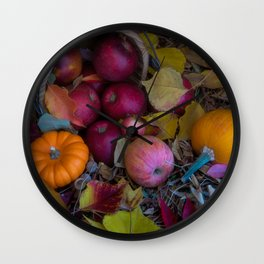 Apples, pumpkins and leaves Autumn natural pattern Wall Clock