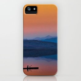 Kayaker on the Lake with Mountains and Setting Sun iPhone Case