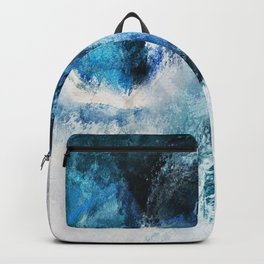 Waves Abstract Painting - Minimalist Seascape Painting Backpack