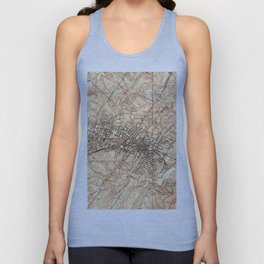 Vintage Map of Charlottesville Virginia (1960) Unisex Tank Top