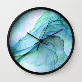 Aqua Turquoise Teal Abstract Ink Painting Wall Clock