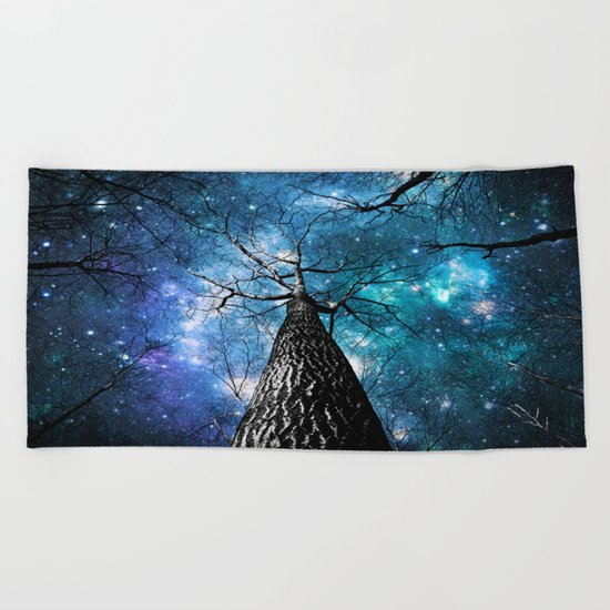 Wintry Trees Galaxy Skies Teal Blue Violet Beach Towel
