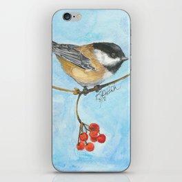 Chickadee On Berry Branch iPhone Skin