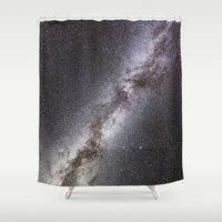 milky way Shower Curtains featuring Milky Way by Space99