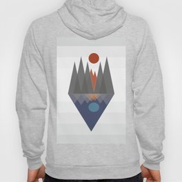 An abstract mountain view with lake geometric design Hoody