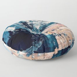 Sweetly: a bohemian, abstract work on paper in blue, pink, white, and gold Floor Pillow