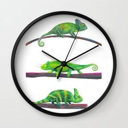 Watercolor Green Chameleons Wall Clock