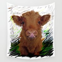 cow Wall Tapestries featuring cow by Vector Art
