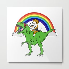 Beagle T Rex Dinosaur Metal Print