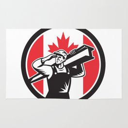 Canadian Construction Worker Canada Flag Icon Rug
