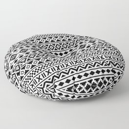 Aztec Essence Pattern Black on White Floor Pillow