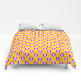 Skull heart pattern, punk rock skull, punk girl, love kills, yellow pink hearts, girly emo skull Comforters
