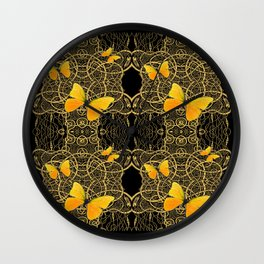 Yellow Mariposas (Butterfly) Celtic Gold & black Art Wall Clock