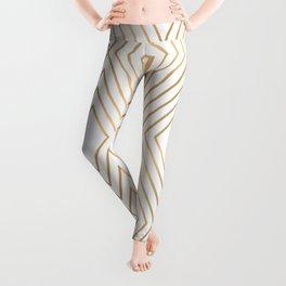 Elegant Geometric Gold Pattern Illustration Leggings