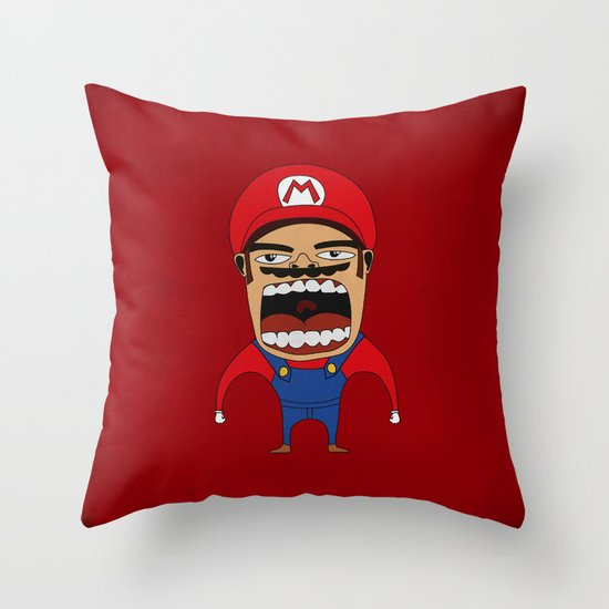 Screaming Mario Throw Pillow