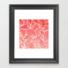 Modern white handdrawn flowers coral watercolor pattern Framed Art Print
