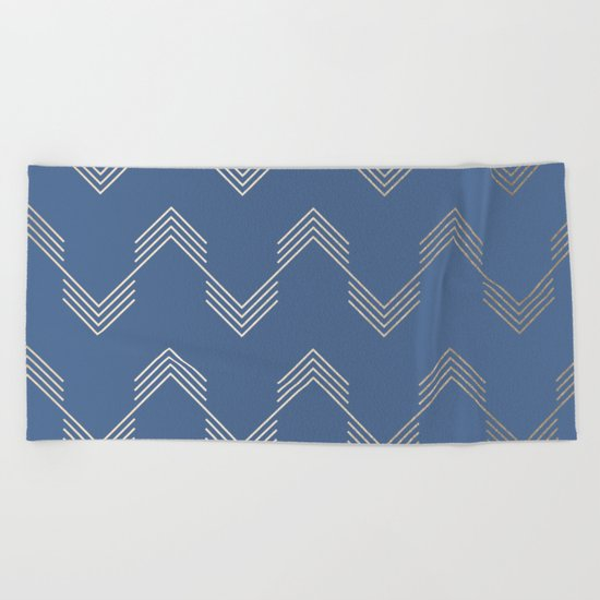 Simply Deconstructed Chevron White Gold Sands  on Aegean Blue Beach Towel