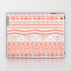 Whimsical Neon Coral Pink Abstract Aztec Pattern Laptop & iPad Skin