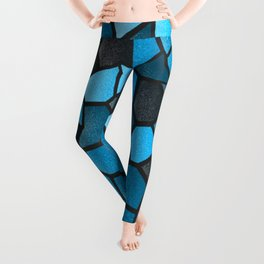 Turquoise and Black Mosaic Leggings