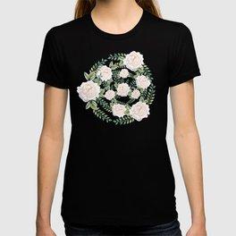 Garden Roses Mandala Pink Green Cream T-shirt