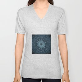 Decorative Light Blue Textured Mandala Design Unisex V-Neck