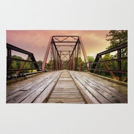 Sunset over an Old Wooden Bridge Rug