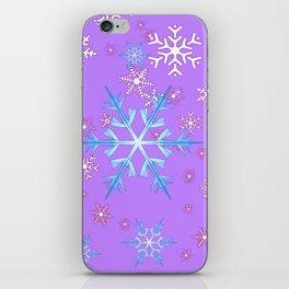 LILAC PURPLE WINTER SNOWFLAKES iPhone Skin