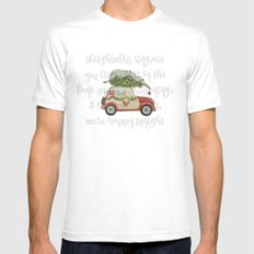 Vintage Christmas car with tree red MEDIUM White Mens Fitted Tee
