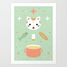 Star Kitten's Lunch  Art Print