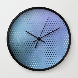 Minimalist Dot Pattern in Iridescent Blue 30 Wall Clock