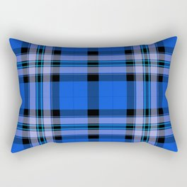 Argyle Fabric Plaid Pattern Blue and Black Rectangular Pillow