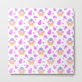 Cute sweet lovely little baby penguins flapping wings, bold pink retro dots pretty girly pattern Metal Print