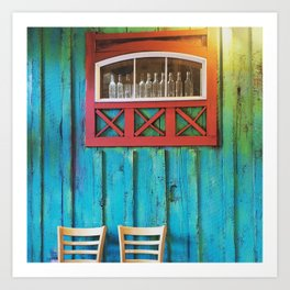 Turquoise + Wood Art Print