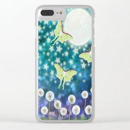 the moon, stars, luna moths, & dandelions Clear iPhone Case