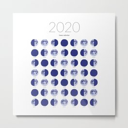 2020 Lunar Calendar - Blue Watercolor Moon Phases Metal Print