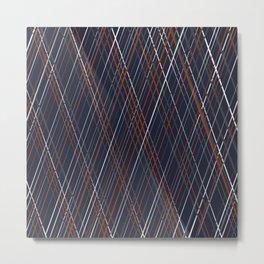 Navy and Rust Crossing Diagonal Lines Metal Print