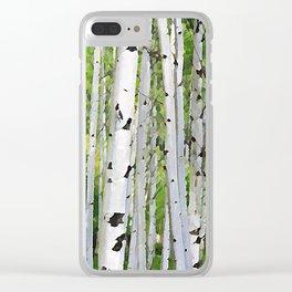 Aspen Tree Trunks/Summer in Colorado - Watercolor Effect Clear iPhone Case