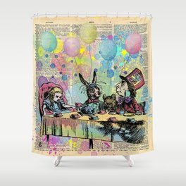 Tea Party Celebration - Alice In Wonderland Shower Curtain